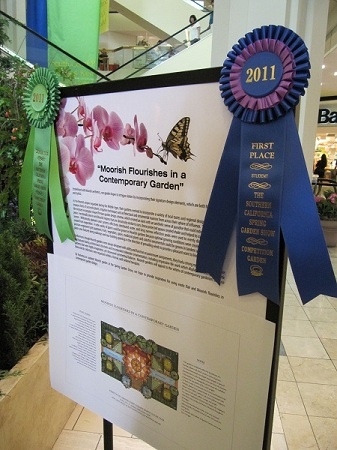 Orange Coast College displayed their 1st place ribbon along with their garden plan and plant legend.