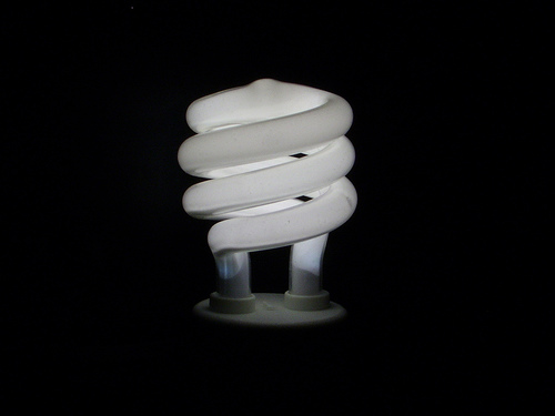 Daylight white compact fluorescent light bulb